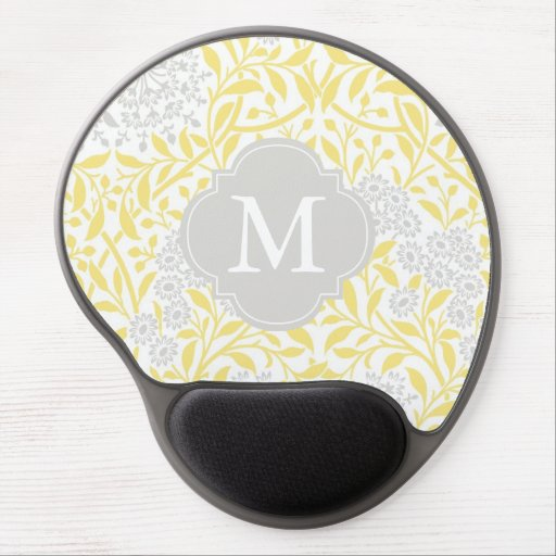 Monogrammed Yellow Gray Floral Damask Pattern Gel Mousepad