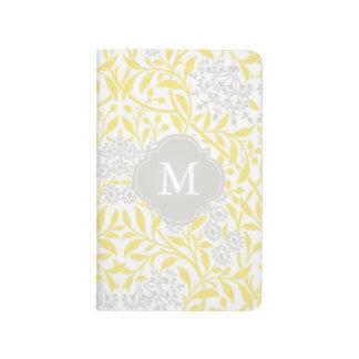 Monogrammed Yellow Gray Floral Damask Pattern Journal