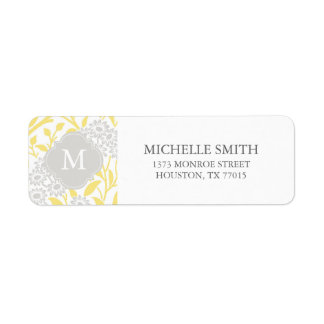 Monogrammed Yellow Gray Floral Damask Pattern Label