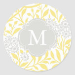 Monogrammed Yellow Gray Floral Damask Pattern Classic Round Sticker