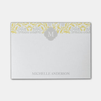 Monogrammed Yellow Gray Floral Damask Post-it Notes