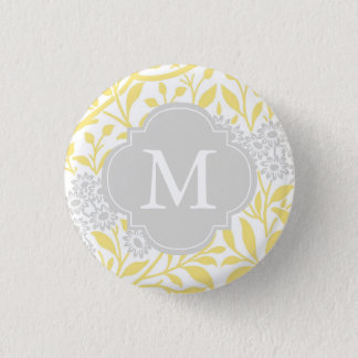 Monogrammed Yellow Gray Floral Pattern Button