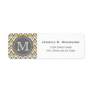 Monogrammed Yellow & Grey Chevron Label