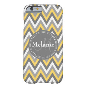 Monogrammed Yellow & Grey Chevron Pattern Barely There iPhone 6 Case