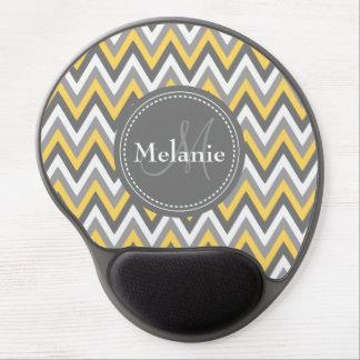 Monogrammed Yellow & Grey Chevron Pattern Gel Mouse Pad