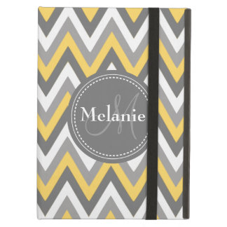 Monogrammed Yellow & Grey Chevron Pattern Cover For iPad Air