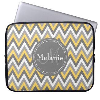 Monogrammed Yellow & Grey Chevron Pattern Laptop Computer Sleeves