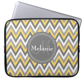 Monogrammed Yellow & Grey Chevron Pattern Laptop Sleeve