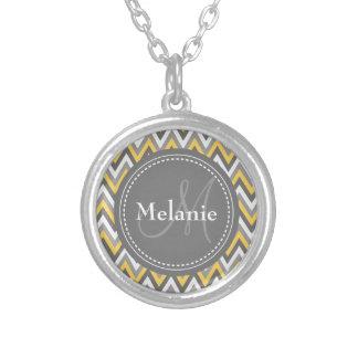 Monogrammed Yellow & Grey Chevron Pattern Round Pendant Necklace