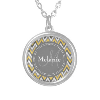 Monogrammed Yellow & Grey Chevron Pattern Silver Plated Necklace