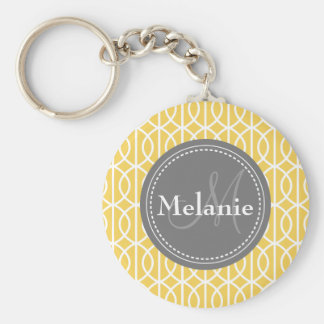 Monogrammed Yellow Grey Moroccan Ogee Pattern Keychain