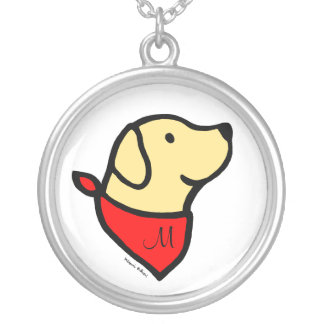 Monogrammed Yellow Labrador & Scarf Cartoon Silver Plated Necklace