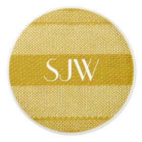 Monogrammed Yellow Weave Ceramic Knob