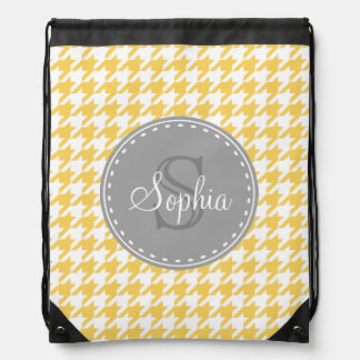 Monogrammed Yellow White Houndstooth Pattern Backpacks