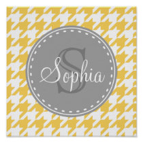 Monogrammed Yellow White Houndstooth Pattern Poster