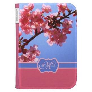 Monogrammed Yokohama Sakura Pink Cherry Blossoms Kindle 3 Case