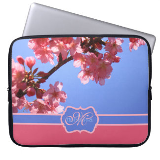 Monogrammed Yokohama Sakura Pink Cherry Blossoms Computer Sleeve