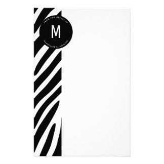Monogrammed Zebra Border from the Office Stationery