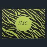"Monogrammed Zebra Placemat (Chartreuse)<br><div class=""desc"">Monogrammed Zebra American MoJo Placemat (Chartreuse)</div>"