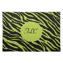 Monogrammed Zebra Placemat (Chartreuse)