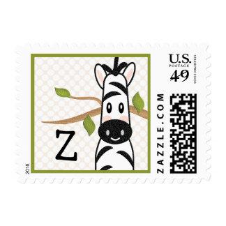 Monogrammed Zebra Postage Stamp