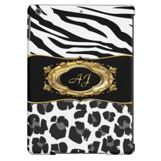 Monogrammed Zebra Stripe Black White Ornate Gold iPad Air Cover