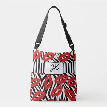 Beach Themed Monogrammed Zebra Striped Red Lips Tote Bag