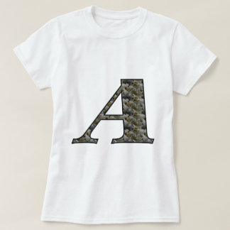 Monogrammmed Initial A Hydrangea Floral Shirt