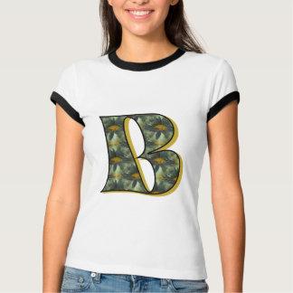 Monogrammmed Initial B Black Daisy T Shirt