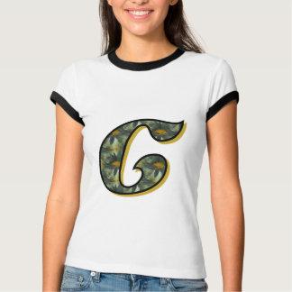 Monogrammmed Initial C Black Daisy T Shirt