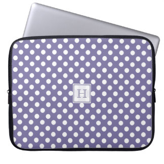 MonogramPurple With White Polka-Dots Laptop Sleeve