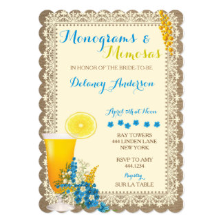 Monograms and Mimosas Bridal Shower Invitations