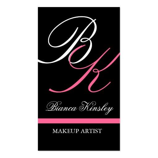 Monograms business cards makeup artist pink zazzle for Makeup artist quotes for business cards