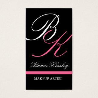 Monograms Business Cards Makeup Artist Pink
