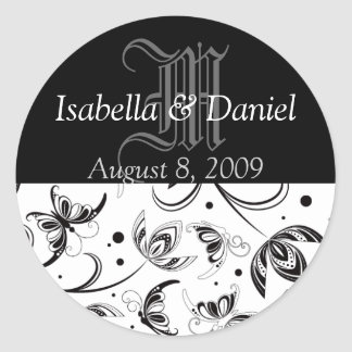 Monograms For Weddings Damask Stickers