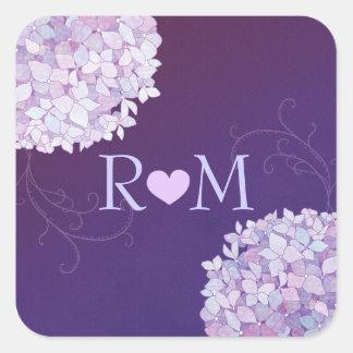 Monograms + Heart Hydrangea Purple Wedding Square Sticker