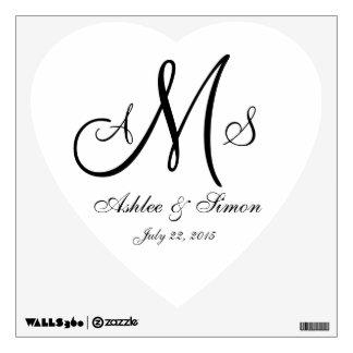 Monograms Names Wedding Heart Wall Decal