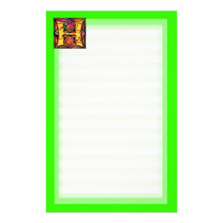 Monograms: Stainglass H Stationery
