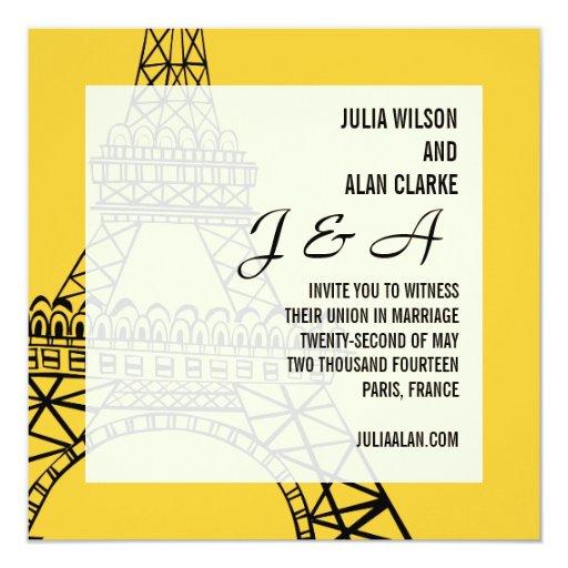 Monograms Wedding Invitation Paris Yellow