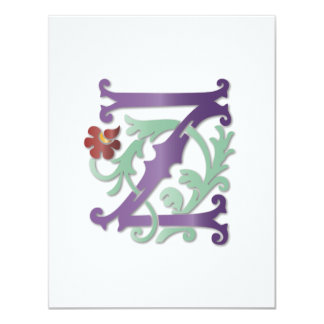Monograms with Swirls 4.25x5.5 Paper Invitation Card