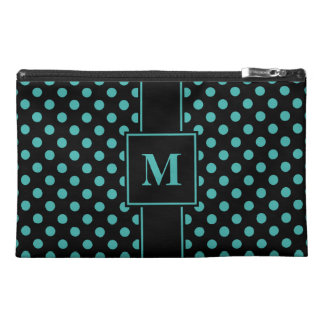 MonogramVerdigris Green Blue on Black Polka Dots Travel Accessory Bag