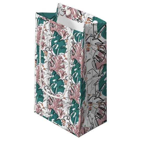 Monoline monstera leaves with color spots small gift bag