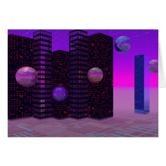 Monolith Quest, Abstract City Violet Greeting Card