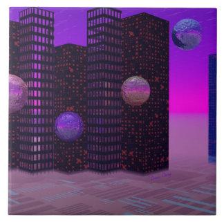 Monolith Quest, Abstract City Violet Ceramic Tile