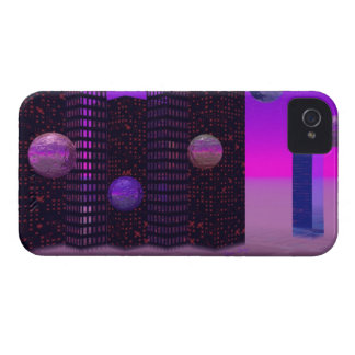 Monolith Quest, Abstract City Violet iPhone 4 Case