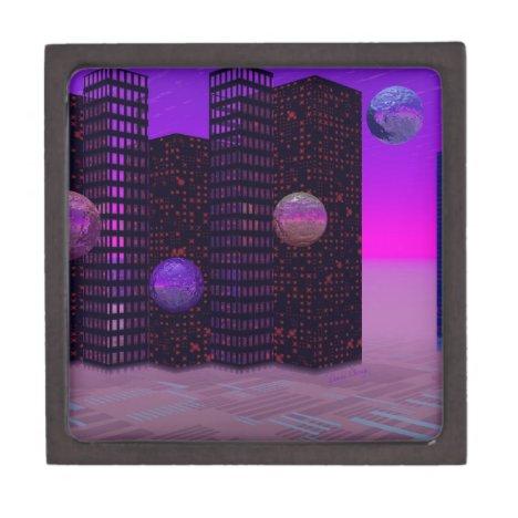Monolith Quest, Abstract City Violet Keepsake Box