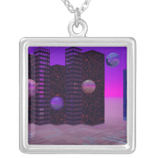 Monolith Quest, Abstract City Violet Square Pendant Necklace