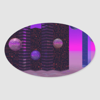Monolith Quest, Abstract City Violet Oval Sticker
