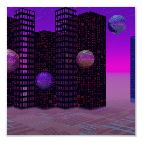 Monolith Quest, Abstract City Violet Poster