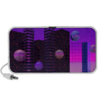 Monolith Quest, Abstract City Violet Travel Speakers